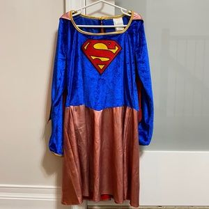 Girls Superman Costume Dress with Cape